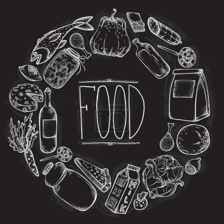 Graphic Food set in chalkboard style