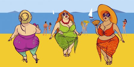 Illustration for Funny vector cartoon colorfull  fatties on the beach - Royalty Free Image