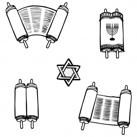Torah. Old scrolls in different forms. Vector illustration