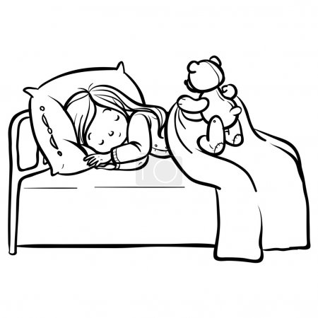 Illustration for Funny vector cartoon sleeping baby with teddy bear - Royalty Free Image