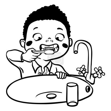 Funny cartoon boy brushing his teeth. vector illus...