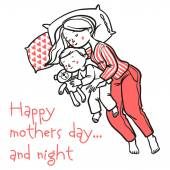 Funny cartoon mom and her baby sleeps in the bed