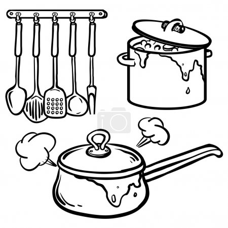 Cooking - set of pans and frying pans. Hand Dawn. Vector Illustr