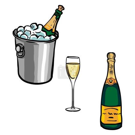Illustration pour Ensemble vectoriel de bouteilles de champagne avec verres et seau à champagne - image libre de droit