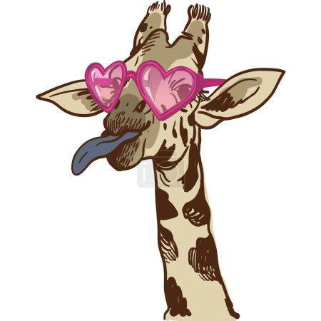 Illustration pour Illustration de girafe dessinée à la main dans des lunettes amusantes. illustration vectorielle - image libre de droit