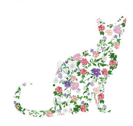 silhouette cat floral print