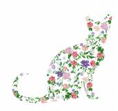 Silhouette cat floral print vector illustration