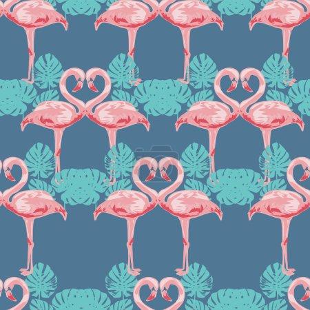 flamingo sketch seamless pattern.