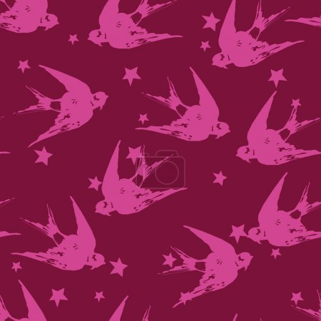 Illustration for Swallow birds and stars seamless pattern, vector illustration - Royalty Free Image