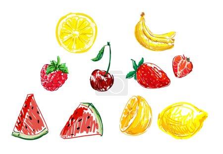Illustration pour Fruits croquis fond vectoriel illustration - image libre de droit