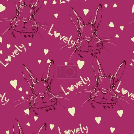 Cute hares sketch pattern