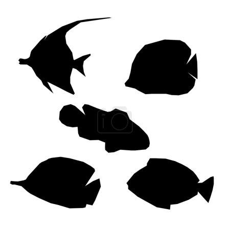 Set fish. ocean life. silhouettes