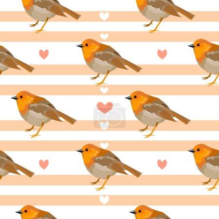Robin birds seamless pattern