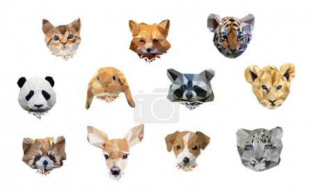 animal polygon low poly. cute set animals