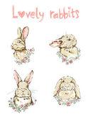 cute bunnies seamless pattern