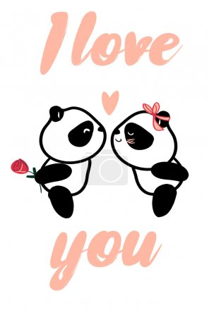 Illustration for Design greeting card for valentine's day. panda. heart. black and white bear. vector. illustration - Royalty Free Image