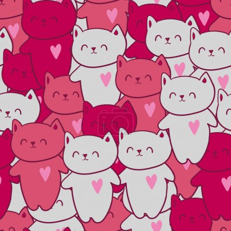 Seamless pattern with pink cats with hearts.