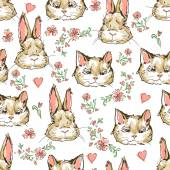 Cats with rabbits and flowers seamless pattern art vector illustration