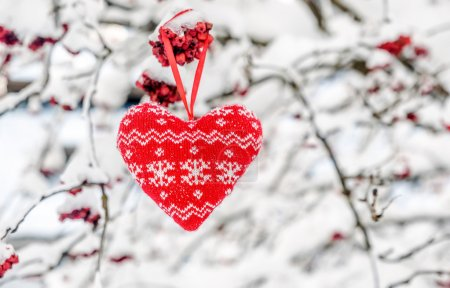 Textile red heart with snow flakes hanging  on the snowy branch