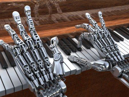 Robot playing on piano. Technology illustration