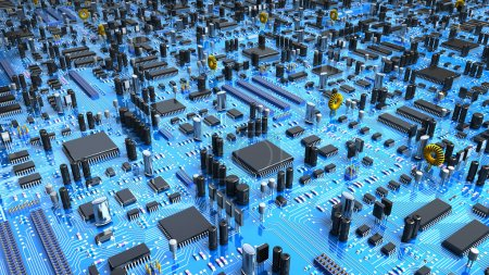 Photo for Fantasy circuit board or mainboard or mother board with a lot of chips and processors - Royalty Free Image