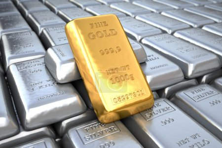 Silver ingot and  gold bullion. Finance illustration