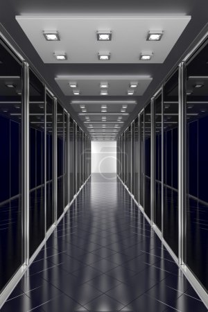 Photo for Black  color hallway in office center or any different modern building. Architecture 3d illustration - Royalty Free Image