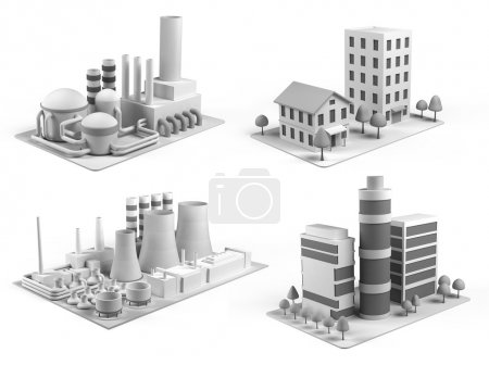 Photo for Set of different stylised buildings, office center, powerhouse, factory and  dwelling house on white background. Isometric view.  3d illustration - Royalty Free Image