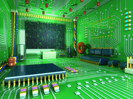 Photo for Fantasy digital room. Futuristic home inside. All in the interior made of electronic components. Conceptual high technology 3d illustration - Royalty Free Image