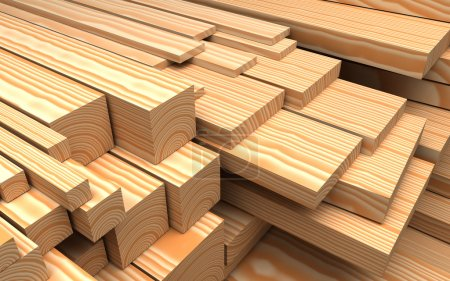 Photo for Construction materials. Closeup different wooden boards and plank. Industrial 3d Illustration - Royalty Free Image