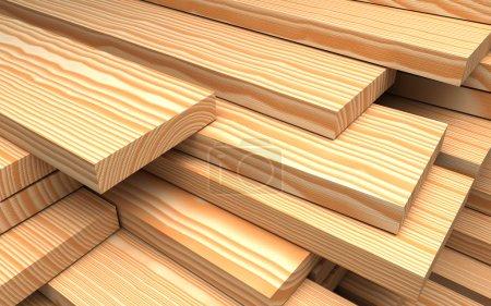 Photo pour Matériaux de construction. Gros plan différentes planches et planches en bois. Illustration 3D industrielle - image libre de droit