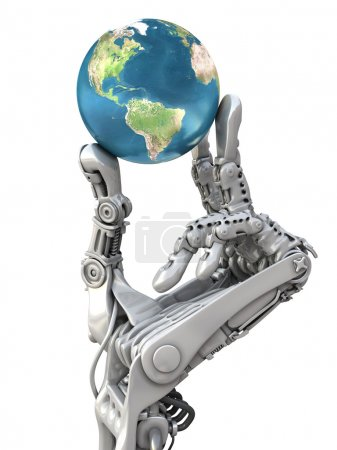 Photo pour Robot holding the blue globe on white background. Planet Earth in hands at high technology. Conceptual 3d illustration. - image libre de droit