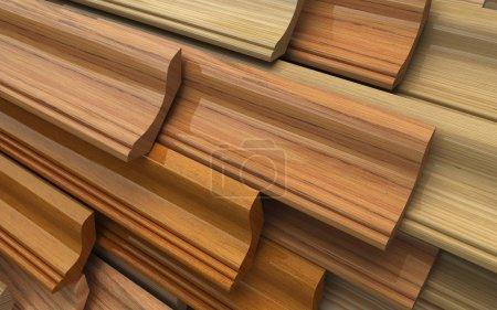 Photo pour Set of dark wooden plinth, plank. Industrial 3d illustration - image libre de droit