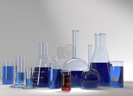 Test-tubes at laboratory with blue and red liquid