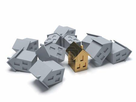 Crisis of real estate. Conceptual 3d illustration.