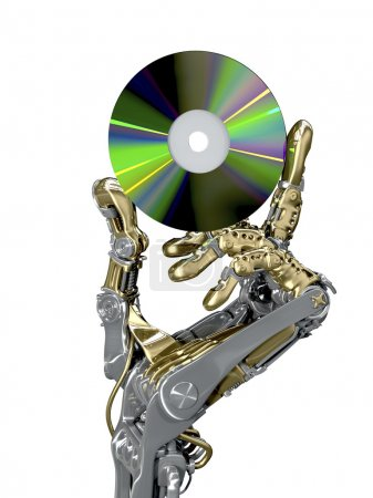 Photo for Robotic arm keeps a CD. Retro and new modern technology together. Conceptual 3d illustration - Royalty Free Image