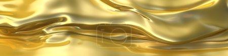 Photo pour Fond abstrait de tissu d'ondes dorées. Illustration 3d - image libre de droit