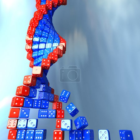 Photo for DNA made of game dice. Conceptual science 3d illustration - Royalty Free Image