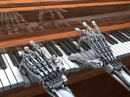 Robot plays the piano.  High Technology 3d illustration