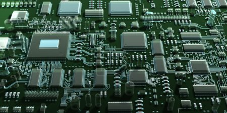 Photo for Abstract  transparent circuit board or mainboard. Top view. 3d illustration - Royalty Free Image