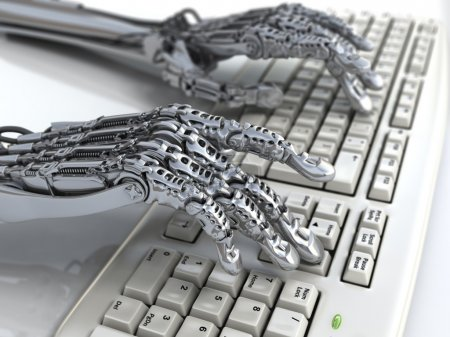 Robot works at keyboard. Futuristic 3d illustration