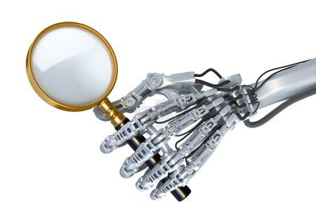 Photo pour Bras robotique rapproché. Robot recherche toute information et utilise une loupe. Illustration 3D conceptuelle de haute technologie - image libre de droit