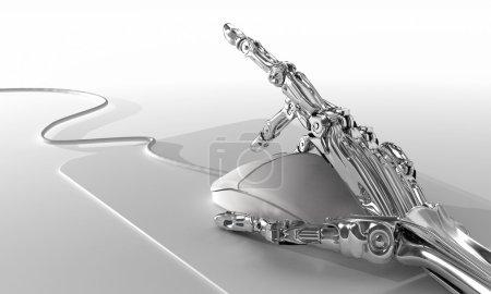 Photo pour Robot fonctionne dans le bureau et utilise la souris d'ordinateur. Illustration 3D futuriste - image libre de droit