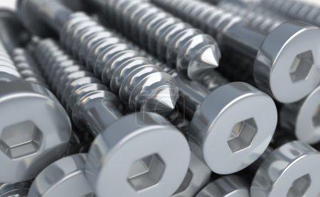 Construction materials. Hexagon screws of steel.  3d illustration