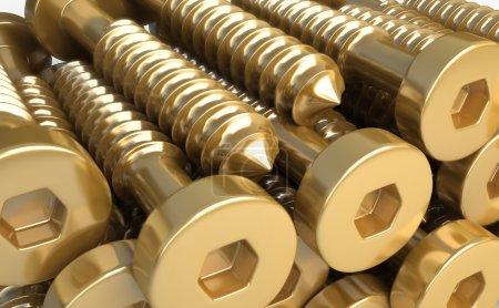 Construction materials. Hexagon screws of brass.  3d illustration