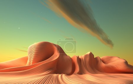 A alien world. Fantasy surreal  3d landscape...