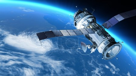 Space Station or spacecraft travels in orbit around the planet Earth.