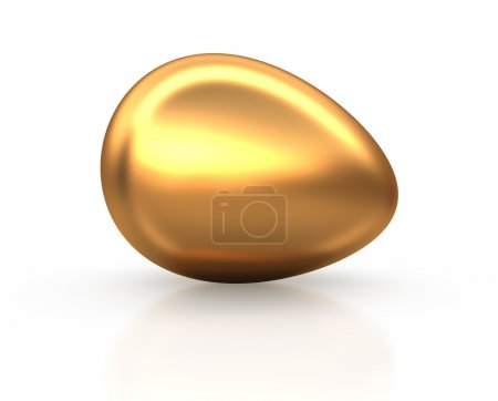 Photo for Golden Easter egg on white reflection background. Conceptual 3d illustration - Royalty Free Image
