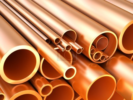 Copper pipes and tubes at warehouse