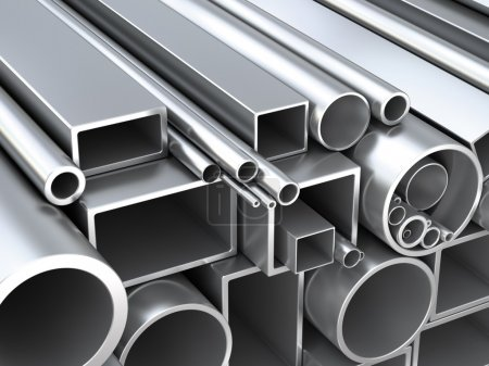 Photo for Metal round pipes and square tubes at warehouse. Construction 3d objects - Royalty Free Image